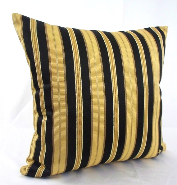 Striped 18x18 black gold pillow cover, Stripes decorative pillows decor  metallic cushions throws couch covers sofa toss black cases
