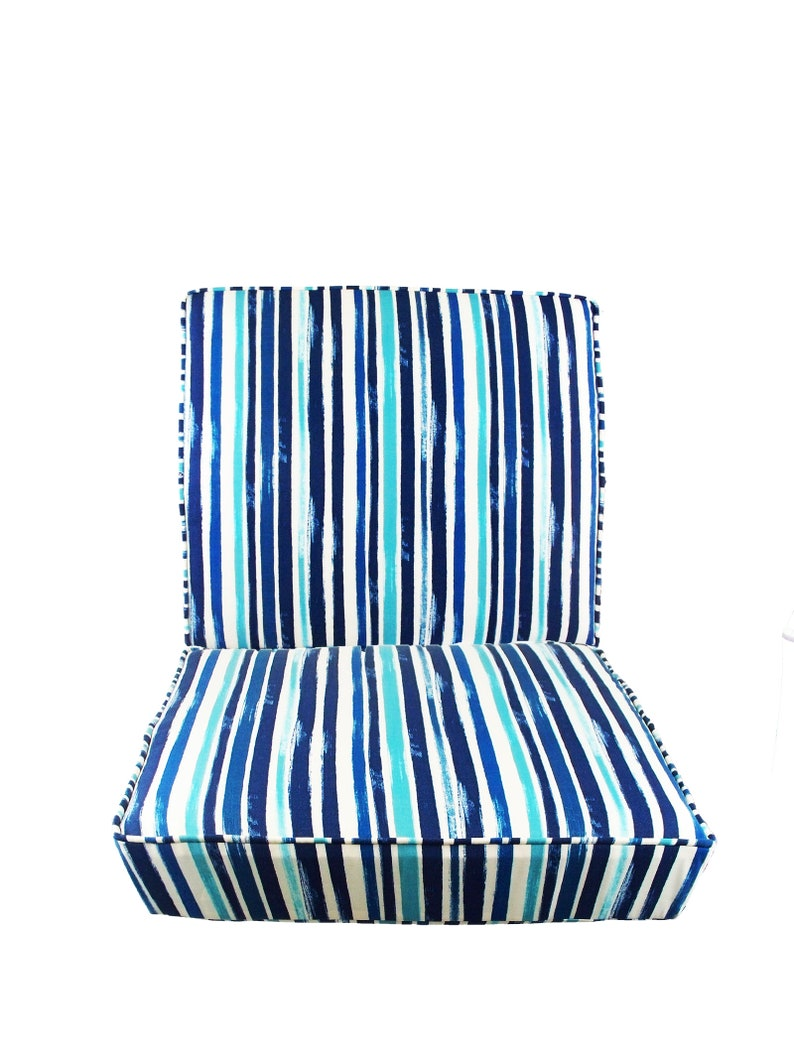 Outdoor Chair Cushions Set Seat And Back Cushions Pads Seat Patio Blue And White Striped Wicker Piping Stripe Bench Deep Replacement