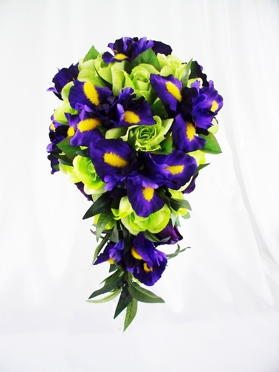 Lime Green Cascade Bouquet Purple Wedding Purple Bouquet Etsy