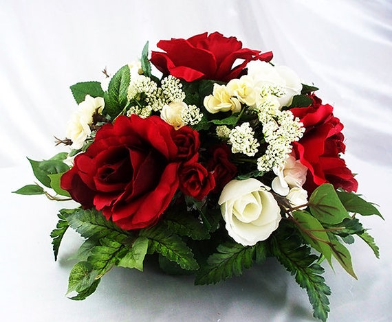 Table Dining Centerpiece Silk Flower Red Rose Arrangement Etsy