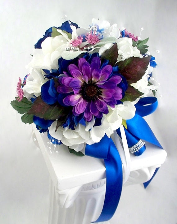Royal blue bridal bouquet royal blue wedding flowers fake etsy image 0 mightylinksfo