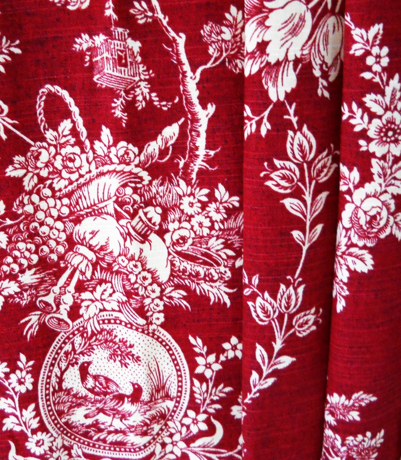 Red Panels Curtains Country House Custom Toile Floral Drapery Waverly Decorative Window Treatments Room Living Bedroom Bathroom Set Drapes