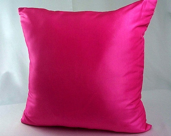 Fuschia pillow, Solid pink pillow cover, Decorative pillows, Cushion covers, Pink throw pillow, Home decor sofa couch, Shiny pillows living