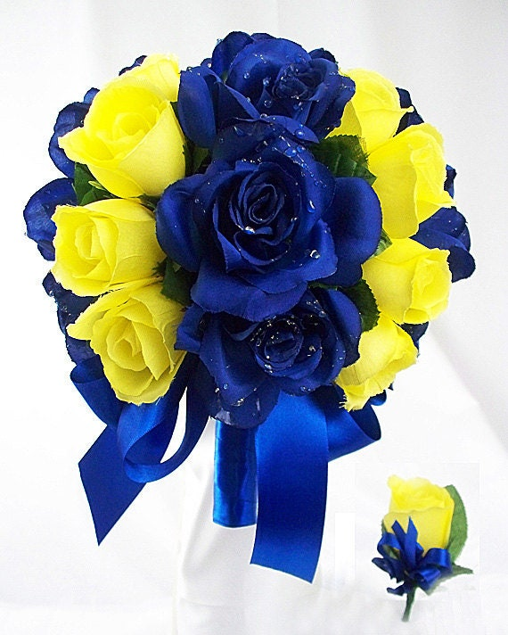 Navy Blue And Yellow Wedding Bouquets Wedding Flowers Royal Etsy