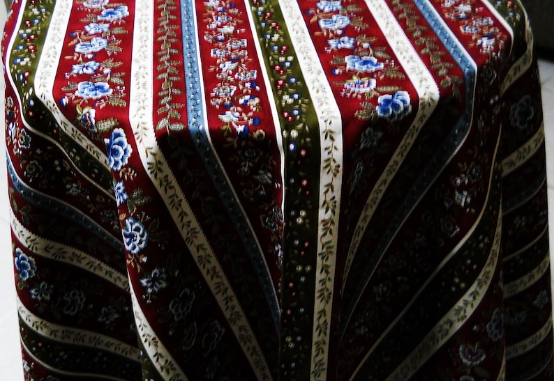 Decoration overlays Round square rectangle party Striped burgundy blue floral tablecloth Cotton table cloth decor