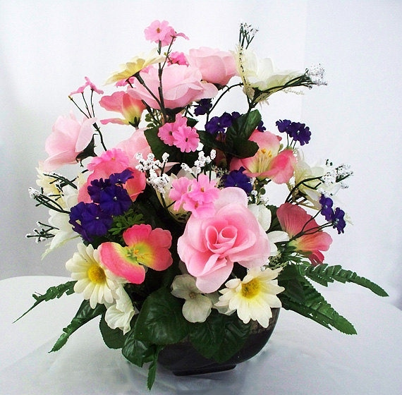 Floral Arrangements Silk Small Gifts Artificial Flowers Etsy