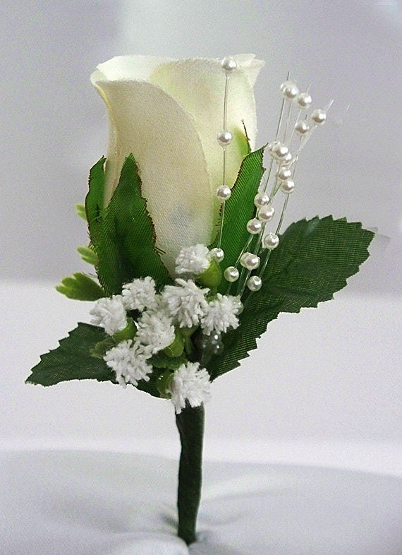 Ivory Boutonniere Rose Corsage Groom Boutonniere Wedding