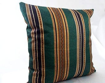 Memorial Day Sale Green striped pillow, Pillow cover green brown striped, Cushion cover green stripe pillowcases Throw