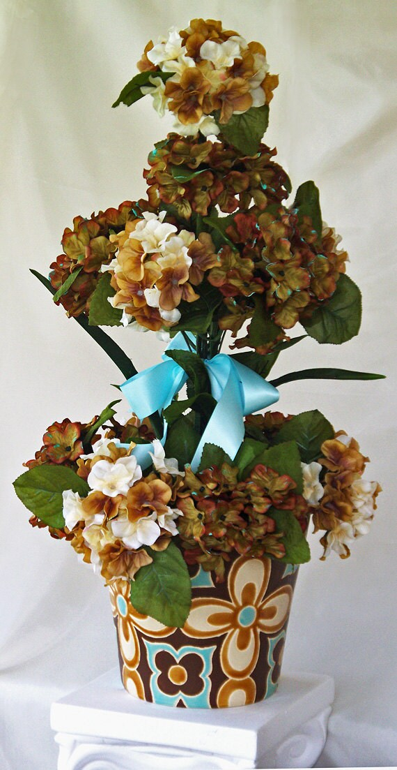 Silk flower arrangement brown light teal vase flower etsy image 0 mightylinksfo