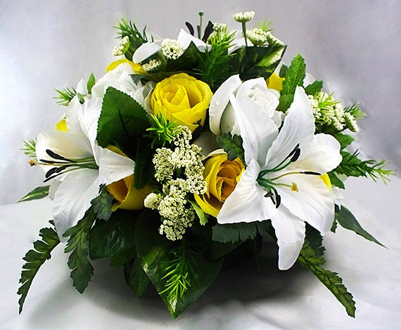 White Wedding Table Ivory Reception Centerpieces Wedding Table Center Pieces Room Lily Yellow Roses Silk Flowers Package Dining Room