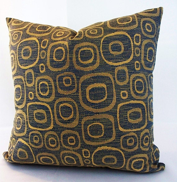 Fantastic Circles Throw Pillows Blue Gold Pillow Covers Blue Accent Cushions Sofa Couch Room Decorations Home Sofa Couch Decor Family Room T Beatyapartments Chair Design Images Beatyapartmentscom