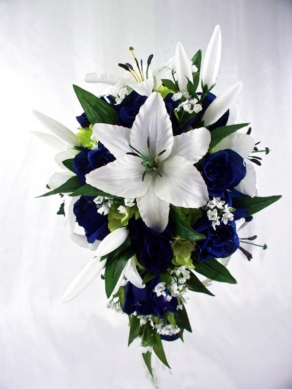 Lily Navy Bridal Bouquet White And Blue Bouquet Teadrop Etsy