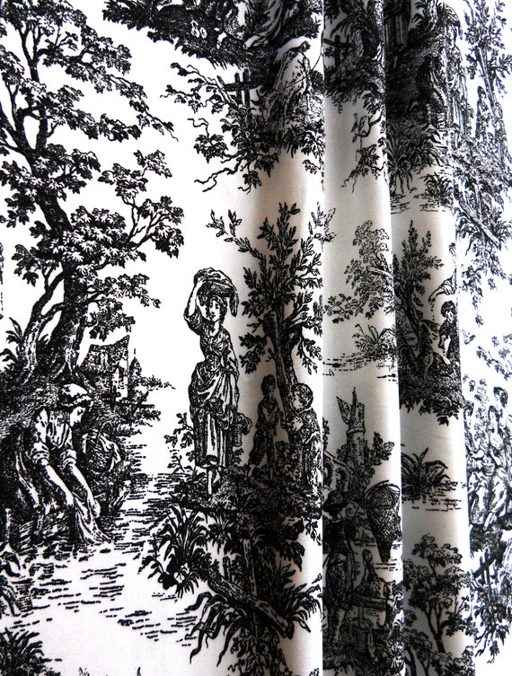 Black Toile Curtains Panels Pair 25, Black Toile Curtains