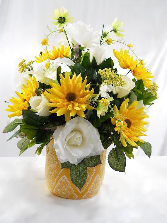 Yellow Flower Arrangement Large Silk Centerpiece Floral Faux Etsy
