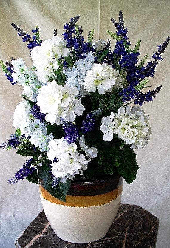 Silk arrangement purple white centerpiece silk flower etsy image 0 mightylinksfo
