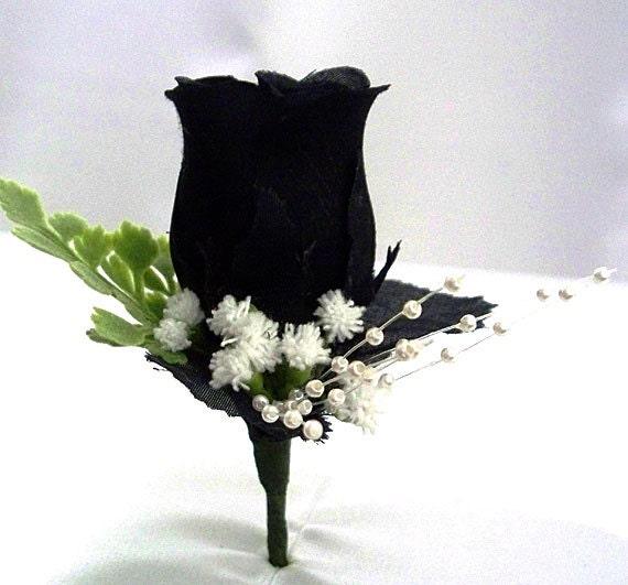 Black Corsage Black Boutonniere Black Wedding Silk Etsy