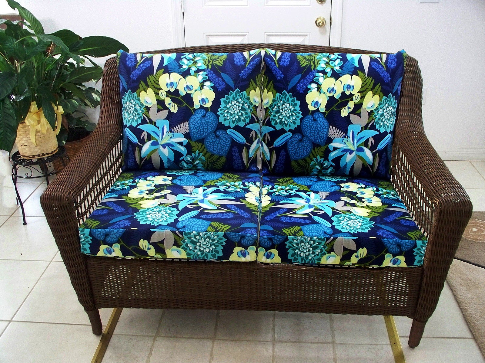 Loveseat Cushions Outdoor Wicker Loveseat Cushions Set Etsy
