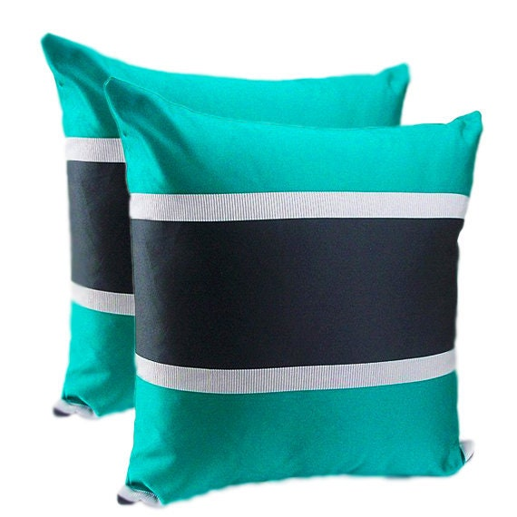 Magnificent Teal Green Striped Throw Pillows Set Set Of Two Accent Pillow Covers Teal Grey Cushions Pillows Set Gray Teal Accent Light Black Couch Inzonedesignstudio Interior Chair Design Inzonedesignstudiocom