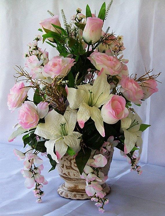 Silk Floral Arrangement Floral Centerpiece Valentine Gift Etsy