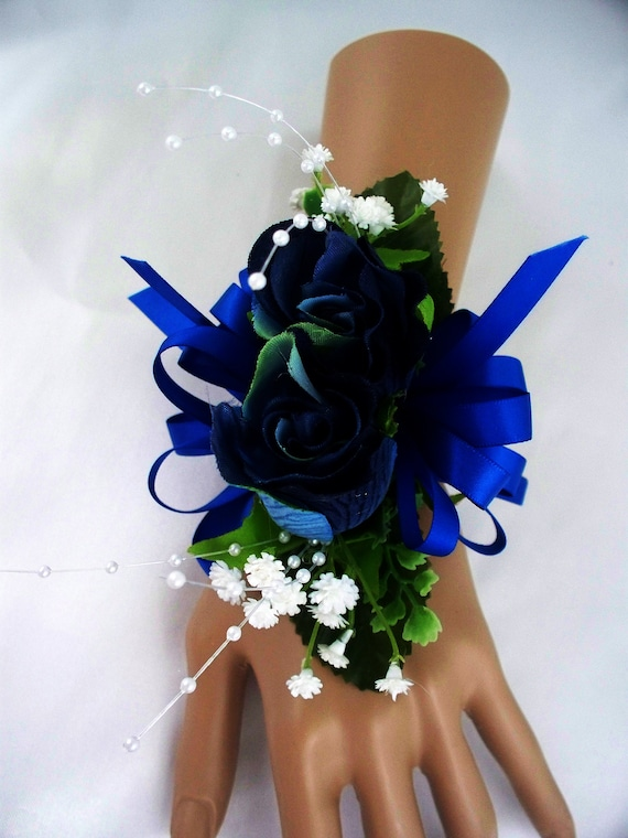 Blue Wedding Corsage Royal Blue Corsage Wrist Corsage Etsy