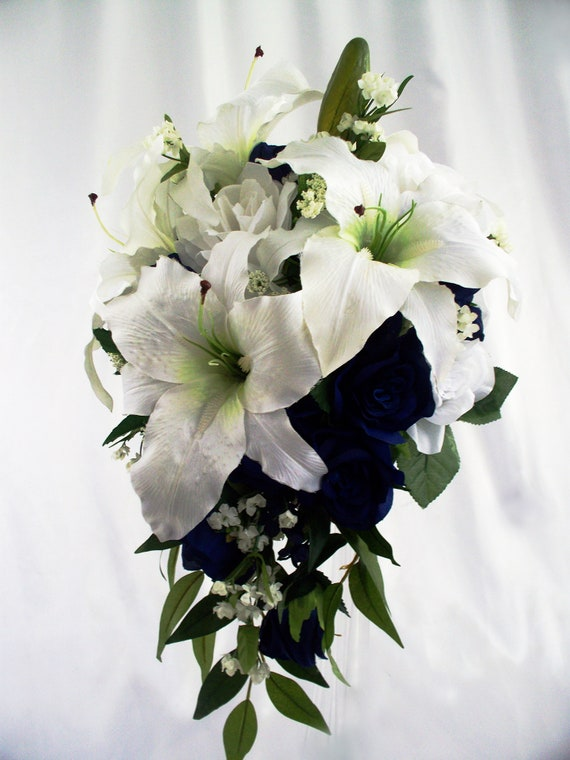 Silk Flower Bridal Wedding Bouquet Lilies Navy White Cascade Etsy