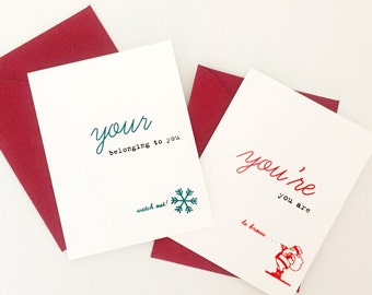 Grammar Christmas Card Set of 8 Commonly Misused Words Your/You're