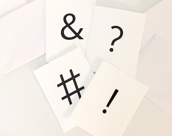 Blank Note Card Set of 8 Punctuation Marks Typography