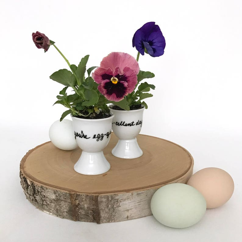 Porcelain Egg Cups, Set of Two, Hand Painted, Clever Puns