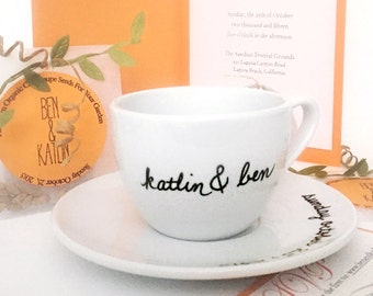 Personalized Upcycled Wedding Teacup and Saucer Wedding Date Ampersand