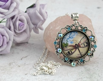 Dragonfly Necklace, Dragonfly Jewellery, Rhinestone Necklace, Cabochon Necklace, Pendant Necklace,  Gifts for Mum, Dragonfly Gifts