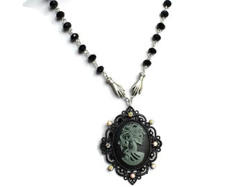 Day of the Dead Cameo Necklace, Alternative Wedding, Lolita Skull Necklace, Gothic Cameo Necklace, Gothic Jewellery,  Black Cameo Necklace,