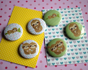 Sloth Badges, Sloth Gifts, Sloth Pins, Sloth Accessories, Wildlife Badges, Sloth Buttons, Cute Animal Badges, Sloths, Button Badges,