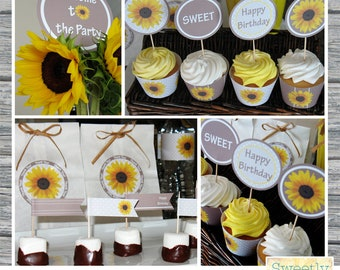 Printable Sunflower Party Collection - Digital Party Supplies and Decor
