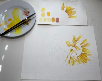Reserved: Original Watercolor Sunflowers