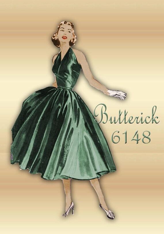 1950er Jahre Schnittmuster Sexy Neckholder Top Cocktail-Kleid | Etsy