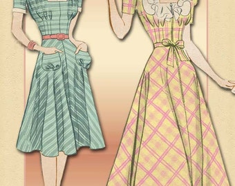 1940s Dress Pattern Hollywood 456 Vintage Short Day  Dress and Floor Length Lounge Robe Bias Skirt  Size 14