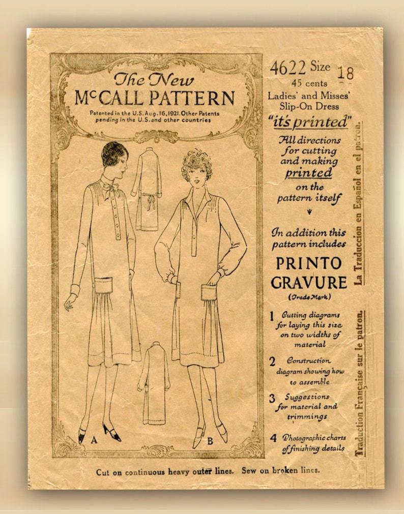 Original 1920s McCall 4622 Dress Pattern Slip On Flapper Chemise Style Bust 36.5