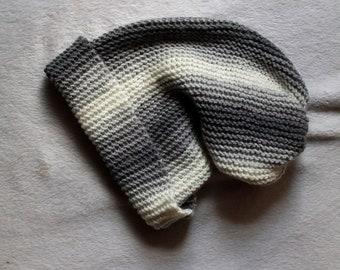 Grey Gradient Ombre Striped Handmade Knit Beanie