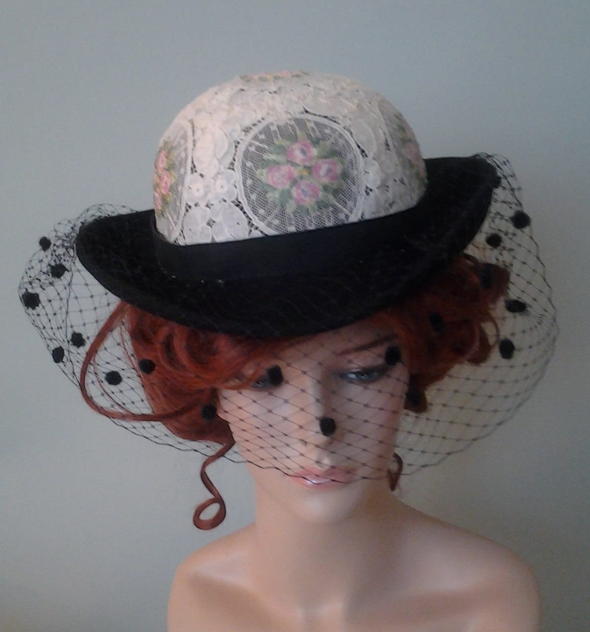 Ladies Black Felt Victorian Style Hat with Embroidered Lace  f95a8247b81