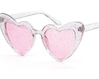 a36f20853a Oversized Glitter Heart Shaped Sunglasses