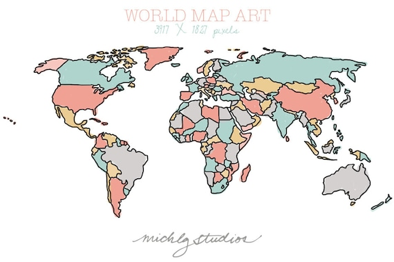 Vector and png world map watercolor outline digital clip gumiabroncs Gallery