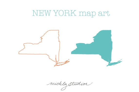Vector Png New York Map Digital Clip Art State Country Etsy