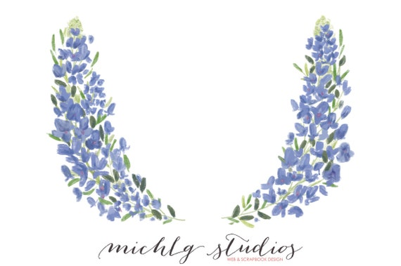 digital clip art floral wreath bluebonnet flower bluebell etsy rh etsy com bluebonnet clipart black and white bluebonnet clipart