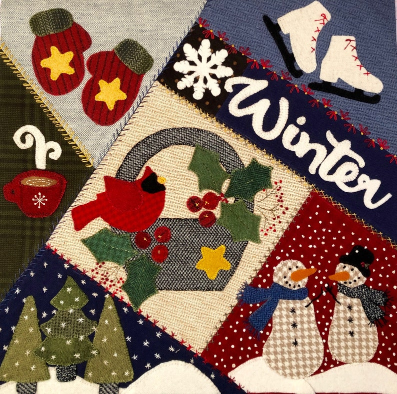 Crazy Seasons Mystery Quilt Block 9 Winter  Flannel/wool image 0