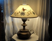 Vintage Tower Craftsmen Brand Number 5088 Brass Hammered Lamp Red Bank New Jersey with Butterfly Decorated Shade