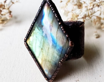 Electroformed Labradorite Ring Size 11.5   Wide Band Statement Ring   Copper Jewelry