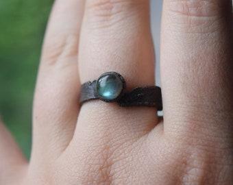 Electroformed Labradorite Ring   Grounding Copper Jewelry