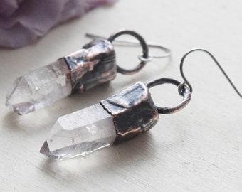 electroformed vera cruz amethyst crystal earrings, mini crystal earrings