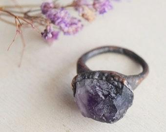 Electroformed raw amethyst ring size 8.5, rough amethyst ring, copper amethyst ring