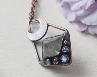PREORDER electroformed fluorite crystal with crescent moon and moonstone